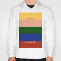 rushmore Hoodies featuring Rushmore minimalist poster by cinemaminimalist