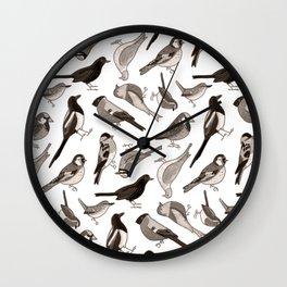 Garden Birds in Monochrome Wall Clock