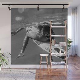 Surfer Girl waiting for an A-frame; Surfing Mavericks Beach, California black and white photography - photograph Wall Mural