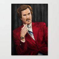 anchorman Canvas Prints featuring Ron Burgundy - Anchorman by Mike Tiscareno