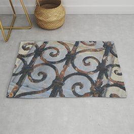 Rusty Metal Grid Gate pattern Illustration Rug