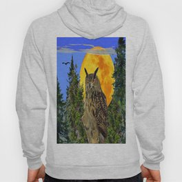OWL WITH FULL MOON & TREES NATURE BLUE DESIGN Hoody