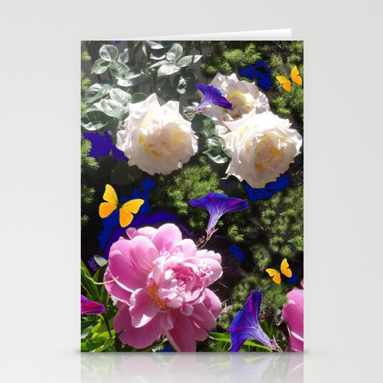 WHITE ROSES PINK  PEONIES BUTTERFLY GARDEN ART by sharlesart