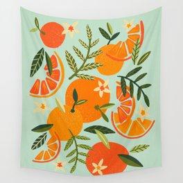 Orange Blooms – Mint Palette Wall Tapestry