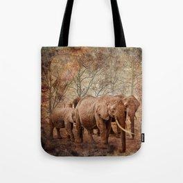 Elephants family on a walk Tote Bag