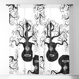 Guitar silhouette with tree branches and music notes Blackout Curtain