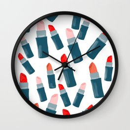Pretty lipsticks in red, pink and blue Wall Clock
