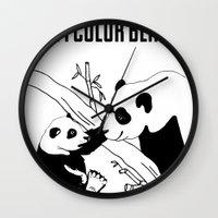 pandas Wall Clocks featuring Pandas by Raaz Herzberg