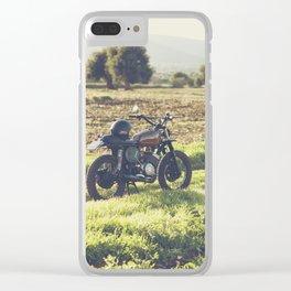 Moto guzzi, café racer, photo in south italy, man cave. Scrambler, fine art, motorcycle, motorbike Clear iPhone Case