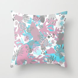 Artistic nautical teal pink gray coral floral pattern Throw Pillow
