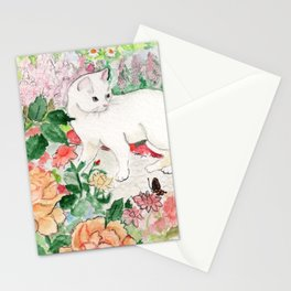 White Cat in a Garden Stationery Cards