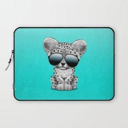 Cute Baby Snow leopard Wearing Sunglasses Laptop Sleeve