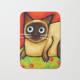Siamese cat nervous siamese kitty on a cherry pillow art by Tascha Bath Mat
