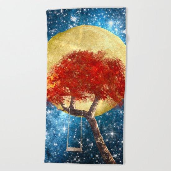 Swing Under a Golden Moon Beach Towel