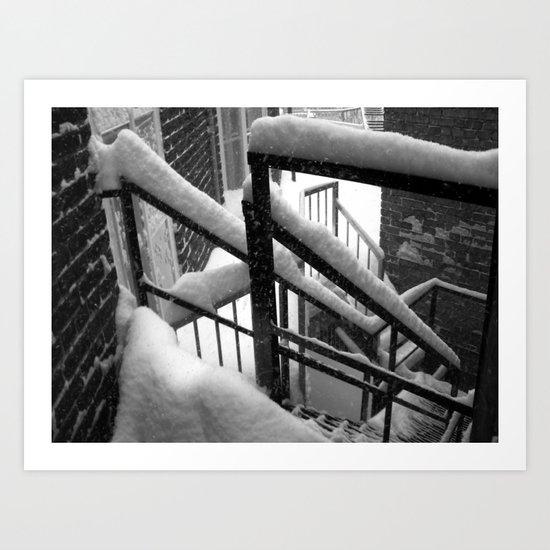 Snowy stairs. Art Print