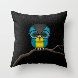 Baby Owl with Glasses and Bahamas Flag Throw Pillow
