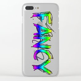 Colorful Rainbow FANCY Text Clear iPhone Case