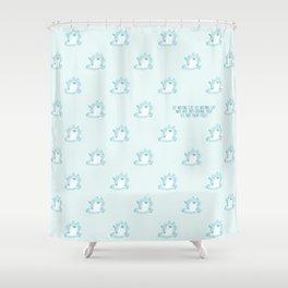 Kawaii Ice melting cat pattern Shower Curtain
