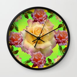 Pinkish- yellow Roses in Garden Green-Gold Art Wall Clock