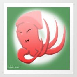 Picky Squid   Sid the Squid Art Print