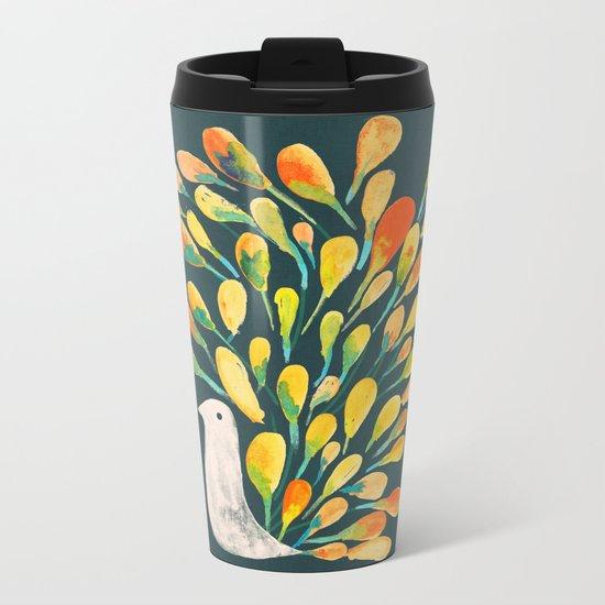 Watercolor Peacock Metal Travel Mug