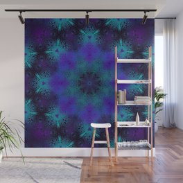 Cyan, Blue, and Purple Kaleidoscope 3 Wall Mural