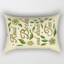 Read Books and drink Tea - Gilded Green Rectangular Pillow