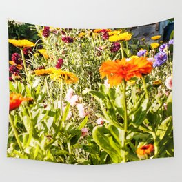 Flowers in the Garden Photography Print Wall Tapestry