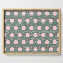 Modern Pink Teal Rose Gold Honeycomb Hexagon Serving Tray