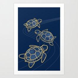 Japanese Pond Turtle / Dark Blue Art Print