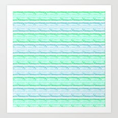 blue&green stripes Art Print
