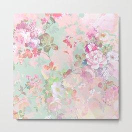 Vintage botanical blush pink mint green floral pattern Metal Print