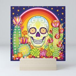 Sugar Skull Rainbow Cactus and Succulents - Colorful Art by Thaneeya McArdle Mini Art Print