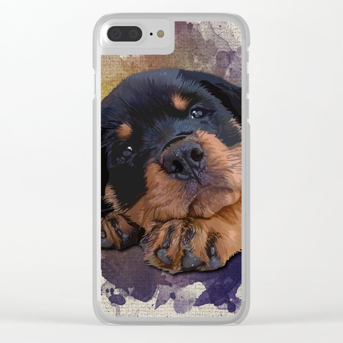 Cute Rottweiler Puppy Clear iPhone Case