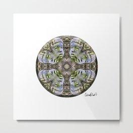 4 Pointed Mandala - Stone Face Metal Print