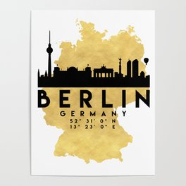 BERLIN GERMANY SILHOUETTE SKYLINE MAP ART Poster
