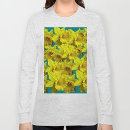YELLOW SPRING DAFFODILS ON TEAL COLOR ART Long Sleeve T-shirt
