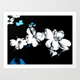 Dogwood Blossom In Blue/Green Abstract Art Print