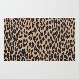 Animal Print Spotted Leopard Brown Black Rug