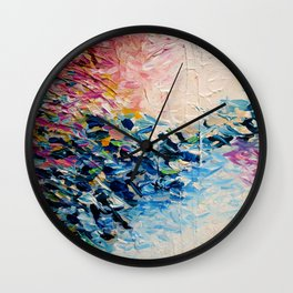 PARADISE DREAMING Colorful Pastel Abstract Art Painting Textural Pink Blue Tropical Brushstrokes Wall Clock