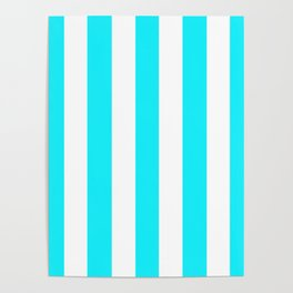 Lotion blue - solid color - white vertical lines pattern Poster