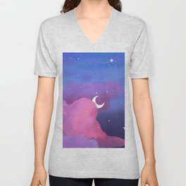 Aesthetic Pink and Purple Clouds with Stars Unisex V-Neck