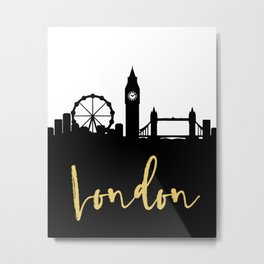 LONDON ENGLAND DESIGNER SILHOUETTE SKYLINE ART Metal Print
