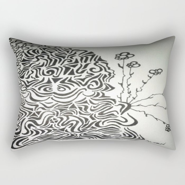 Buddha Blossoms Ink Doodle Rectangular Pillow