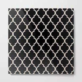 Classic Quatrefoil Lattice Pattern 821 Black and Linen White Metal Print