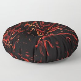Hot Lava - gold red black fire abstract swirl pattern Floor Pillow