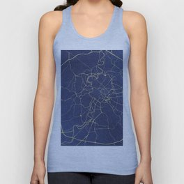 Rome Blue and Gold Street Map Unisex Tank Top