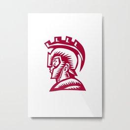Spartan Warrior Helmet Woodcut Metal Print