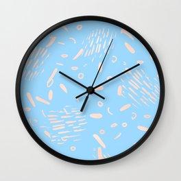 Sweet Life Memphis Peach Coral Pink + Blue Raspberry Wall Clock