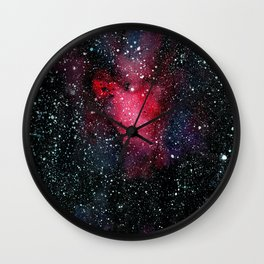 Red Cosmos Art Painting Wall Clock